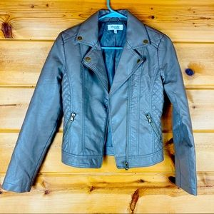 Faux leather Moto jacket coat zip button quilted